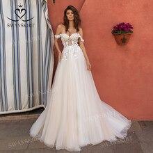 Sweetheart 3D Flowers Wedding Dress 2020 Off Shoulder Tulle A Line Princess Bridal Gown Swanskirt UZ40 Illusion Vestido de Noiva