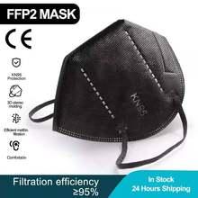 Masque anti-poussière noir, 5 couches FFP2 KN95, respirateur de sécurité, protection faciale, filtre anti-poussière, réutilisable