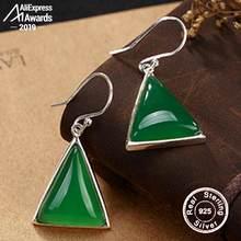 NOT FAKE S925 Fine Jewelry Drop Earrings Triangle Earrings Luxury Taste Women Handmade Vintage Natural emerald moldavite peridot(China)