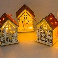 Navidad рождественские деревянные подвески, украшения, милая деревянная мини-игрушка, полый дом, Рождественский светильник, Рождественская елка, подвесная подвеска, гаджеты