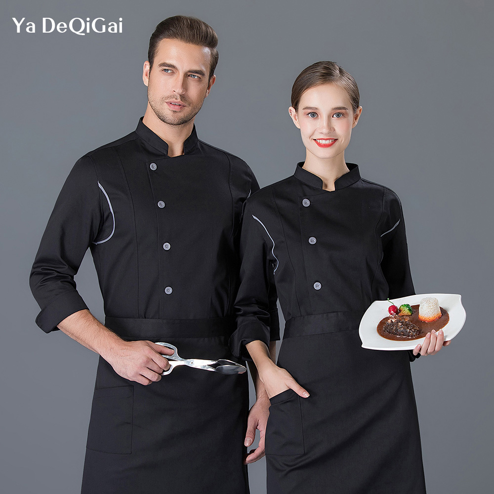 Unisex Black&wahite Hotel Chef Work Uniforms Restaurant Cooking Chef Jackets Breathable Overalls Chef Work Clothes New Wholesale