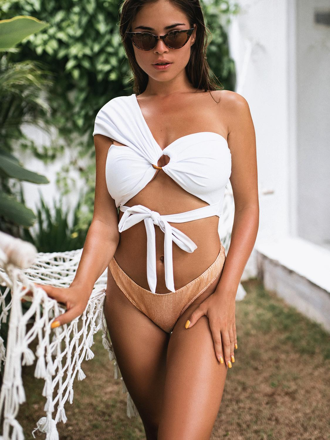 2020 Women one Shoulder Bandage Bikini New Style Women Sexy Split Swimwear Swimsuit high waist  sexy bathing suit women monokini 2