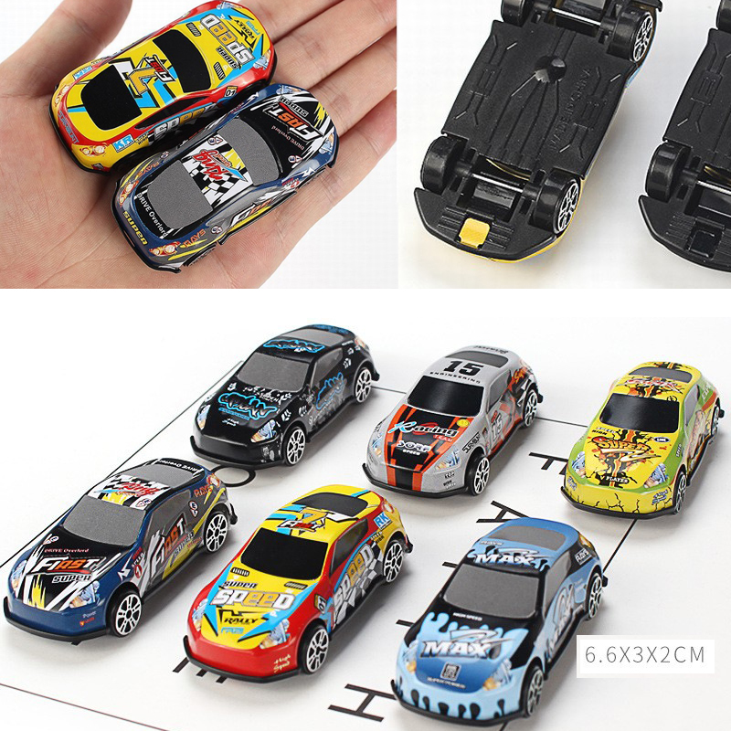 6Pcs Set Toy Racing Car Alloy Diecast Vehicle Iron Shell Taxi Model Inertia Sliding Rail Car Mini Small Gift Children Boys Toys