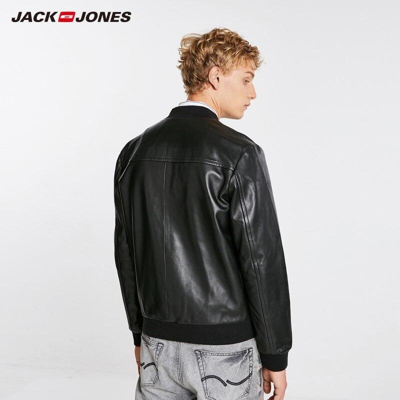Chaqueta de cuero con cuello de béisbol de piel de oveja de moda de invierno de JackJones para hombre 218410501-in Abrigos de cuero genuino from Ropa de hombre    3