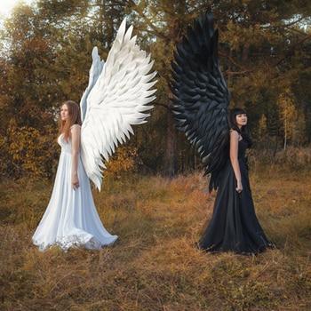 Halloween Angel Devil 3D Big Wings Mardi Gras Theme Party Cosplay Accessories of Kid Adult Children Large Black Wings Costume
