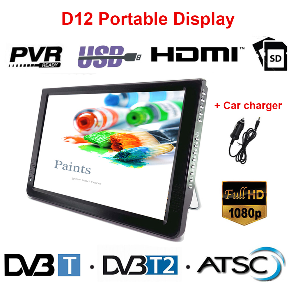LEADSTAR D12 светодиодный ТВ 11,6 дюймов портативный дисплей цифровой плеер DVB-T2 аналоговый ATSC Портативный ТВ HDMI USB TF карта с автомобильным зарядным...