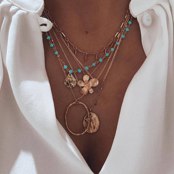 Coin Flower & Turquoise Beads Necklace