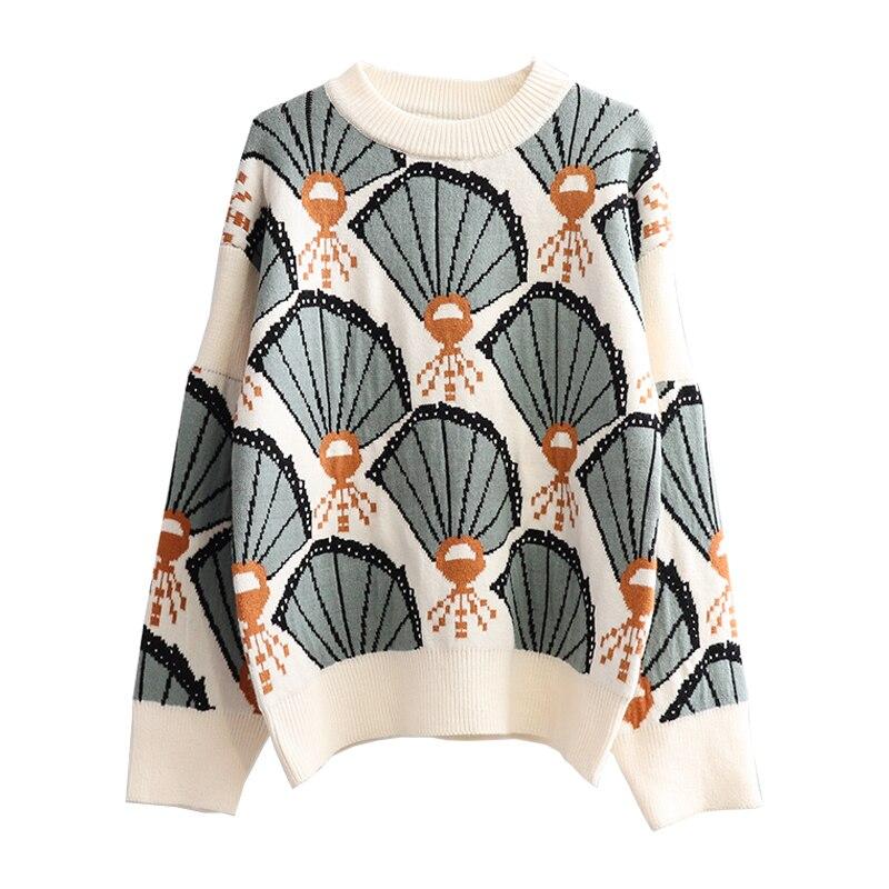 H.SA 2019 Autumn Winter Casual Sweater Tops Fan Knitwear Loose Style Slim Knitwear Patterned Sweater Tops Loose Jumpers Femme