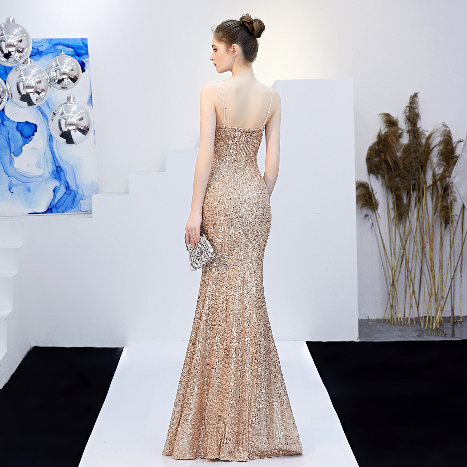 New Women Sequins Long Evening Dress Elegant V-neck Beading Evening Party Dress - prom-dresses