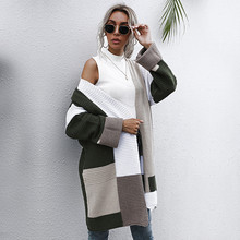 Knitted Sweater Cardigans Oversize Thick Women Coat Patchwork Color Winter Casual New-Fashion