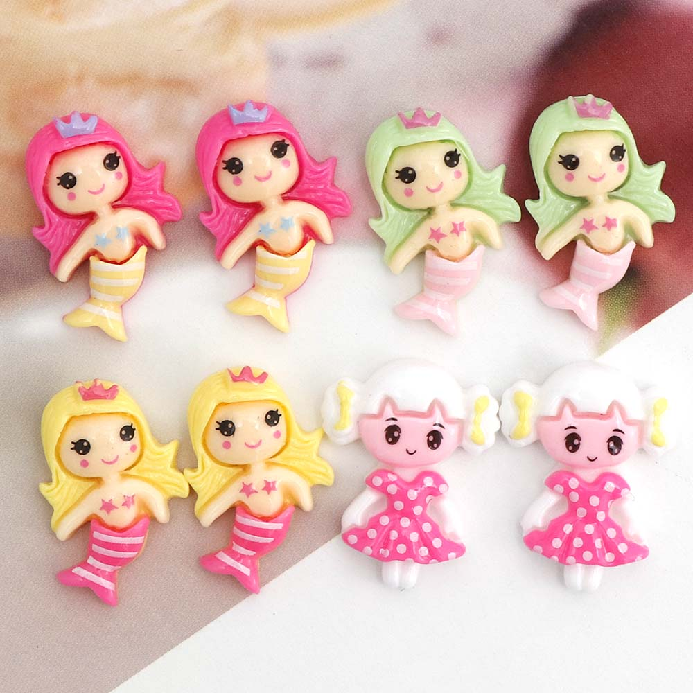 10PC Mix Gril Mermaid Fish Tail Flatback Resin Decoration Crafts Flatback Cabochon Scrapbooking Fit Phone Hair Diy Accessories