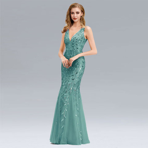 Beauty Emily V Neck Strapless Evening Dresses Silver Appliques Tulle Mermaid Dress Pleated Zipper Open Back Vestido de noche Multan