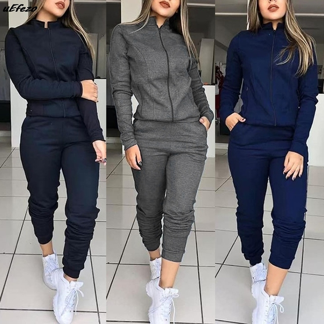 Women 2 Pcs Tracksuit Sports Long Sleeve Sweatshirts Thin Fleece Joggers Suits Running Set Workout Gym Spring Sportswear 1
