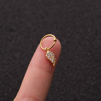1 PCS Simple Micro Pave CZ Wing Charm Ear Cartilage Cuff Clip Earring Trendy Gold Color Steel Circle Hoop Piercing Earring image