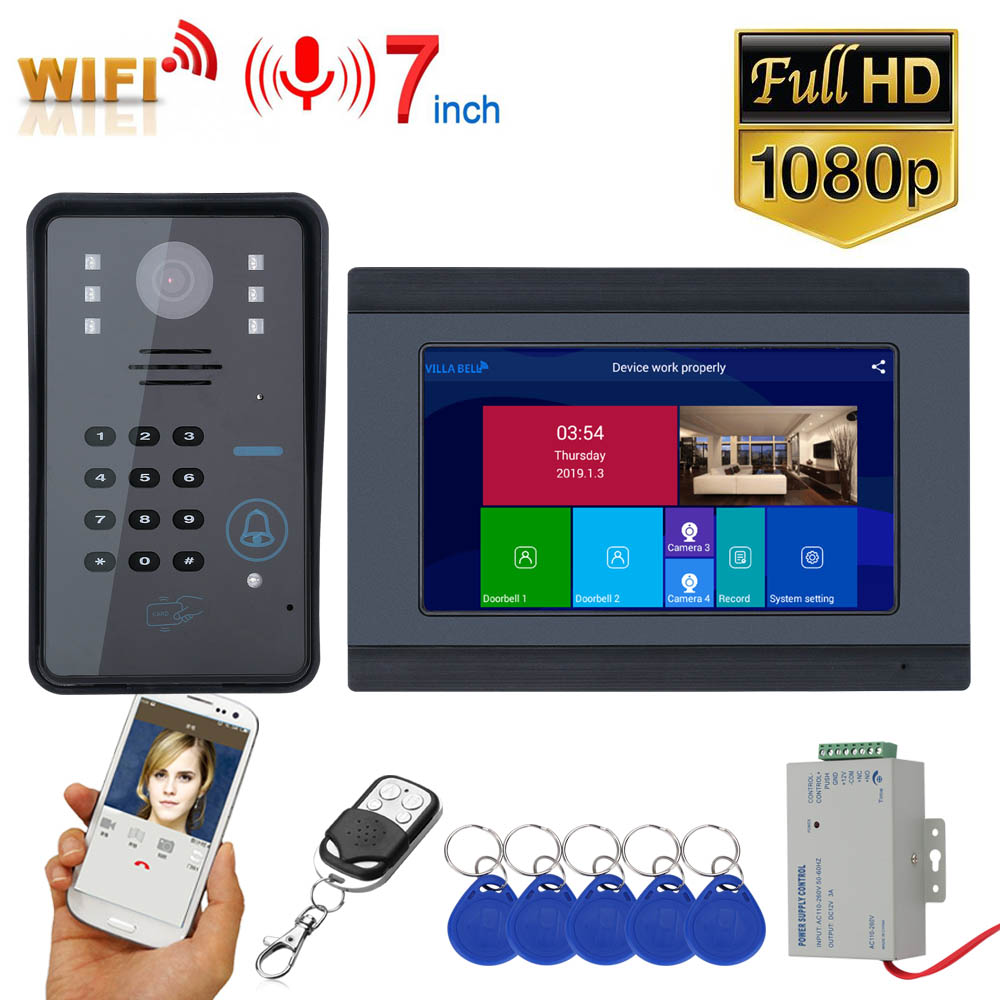 7inch Wireless Wifi RFID Password Video Door Phone Doorbell Intercom Entry System With Wired IR-CUT 1080P Wired Camera Night Vis
