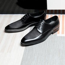 купить Men's Genuine Leather Shoes High-End Suit Leather British Style Pointed Toe Matte Business Dress Full Grain Leather Shoes Men онлайн
