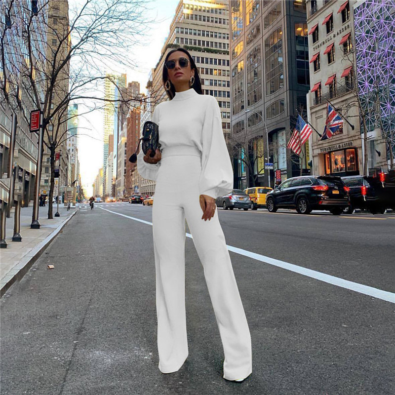 Turtleneck Lantern Sleeve Loose Women Jumpsuit Tunic Wide Leg Flare Pants Elegant Overalls Yellow White Black Combinaison Femme