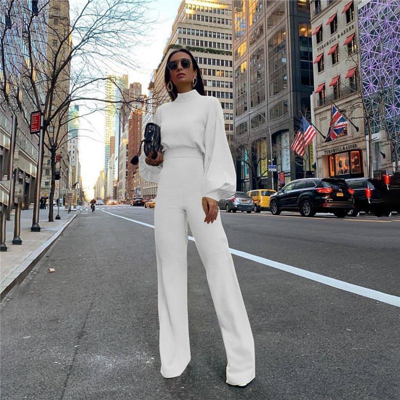 Turtleneck Lantern Sleeve Loose Women Jumpsuit Tunic Wide Leg Flare Pants Elegant Overalls Yellow White Black Combinaison Femme