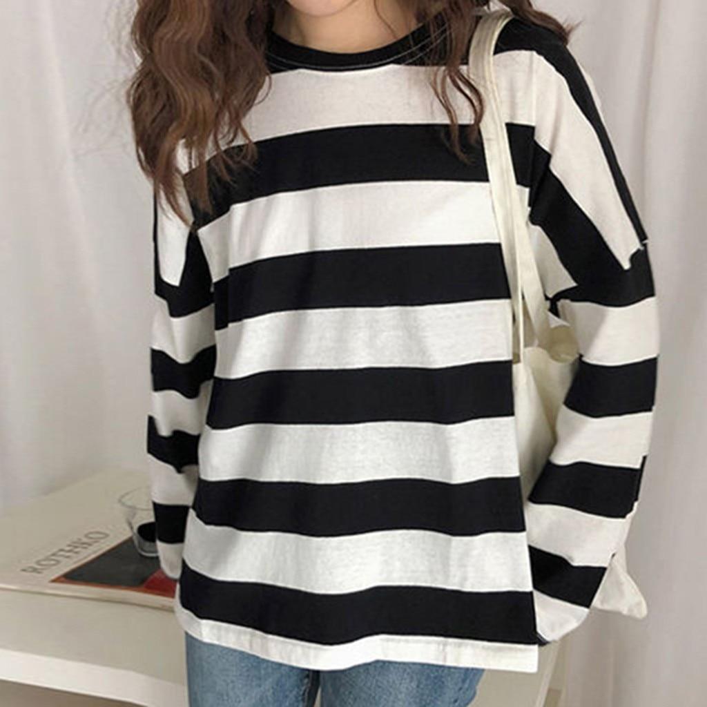Summer T Shirt Women Harajuku Striped Print Long Sleeve Female T-Shirt Streetwear Korean Style Women Clothes 2020 Camisas Mujer