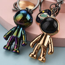 Cute 4 Colors Acrylic Robot Spaceman Keychain Women Lovely Universe Planet Key Chain Jewelry Bag Pendant Key Ring for Girls Gift(China)