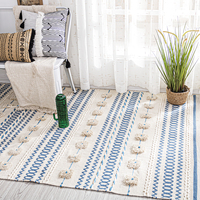 India Hand Made Woven Cotton Carpets for Living Room Simple Nordic Home Carpet Bedroom Decorative Bedside Hallway Area Rug