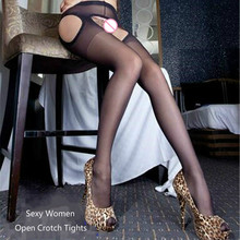 Sexy Tights Hose Crotchless Panty High-Waisted Medias Silk Stockings Open-Crotch Black