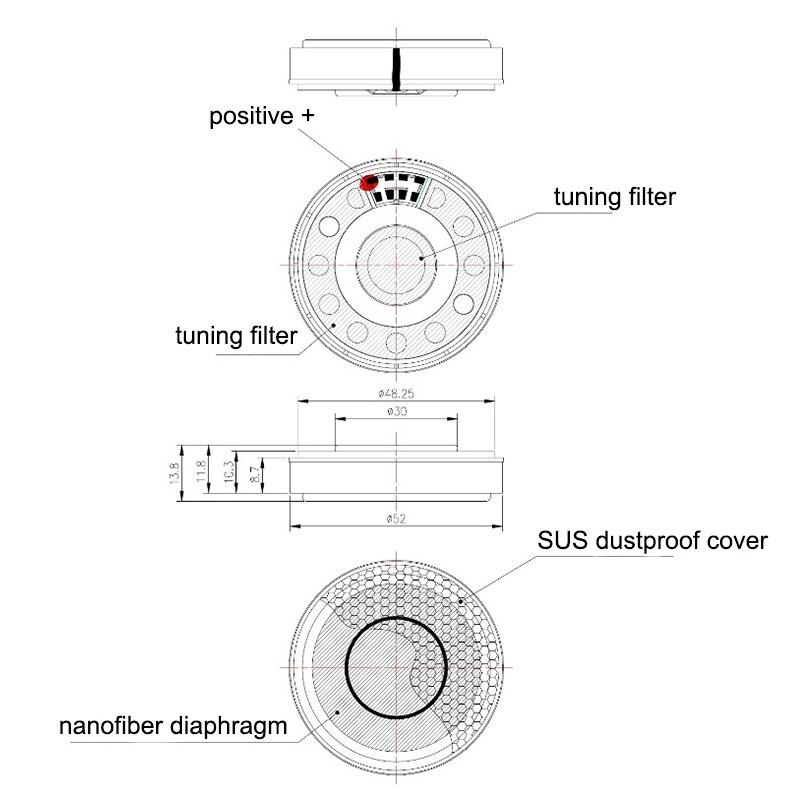 53mm 24 ohm nano-fibra diafragma fone de