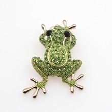 Роскошная зеленая Хрустальная брошь с дизайном «лягушка» с цепочкой, цвета розового золота, серебра, Броши Булавки с животными для женщин, а...