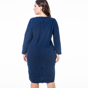 Image 2 - MK 2019 winter Womens Plus Size denim dress fashion Ladies Vintage long sleeve autumn midi dress