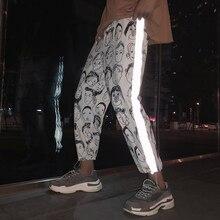 Houzhou reflexivo harém gótico calças femininas hip hop streetwear tornozelo comprimento calças plus size mid solto lápis pantalon feminino