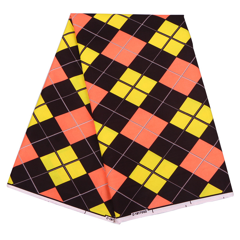 100% Polyester Yellow Orange And Black Plaid Printed Fabric African Guaranteed Veritable Wax Sunbelt Wax Printed Fabric