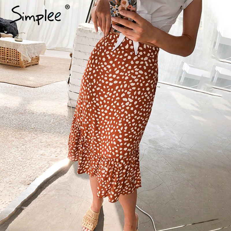 Simplee Elegant Leopard Print Women Midi Skirt Ruffles High Waist Female A-line Skirt Casual Spring Summer Ladies Skirts Bottoms