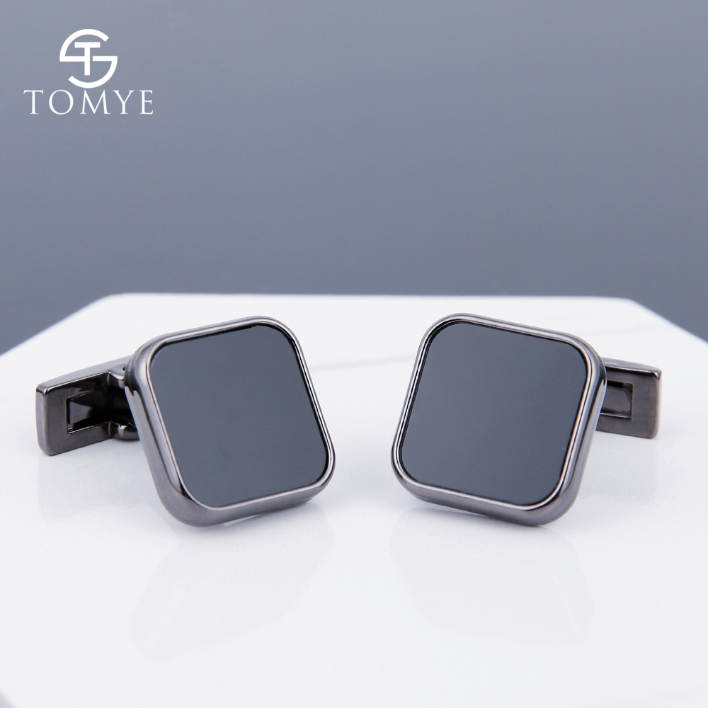 TOMYE Black Gun square premium cuff links high end mens enamel cufflinks for shirt XK19S087