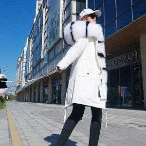 Image 5 - جاكيت نسائي شتوي أنيق موضة 2019 معطف فرو حقيقي طبيعي بياقة من فرو الثعلب الحقيقي جاكيت طويل فضفاض فرو كبير ملابس خارجية قابلة للفصل
