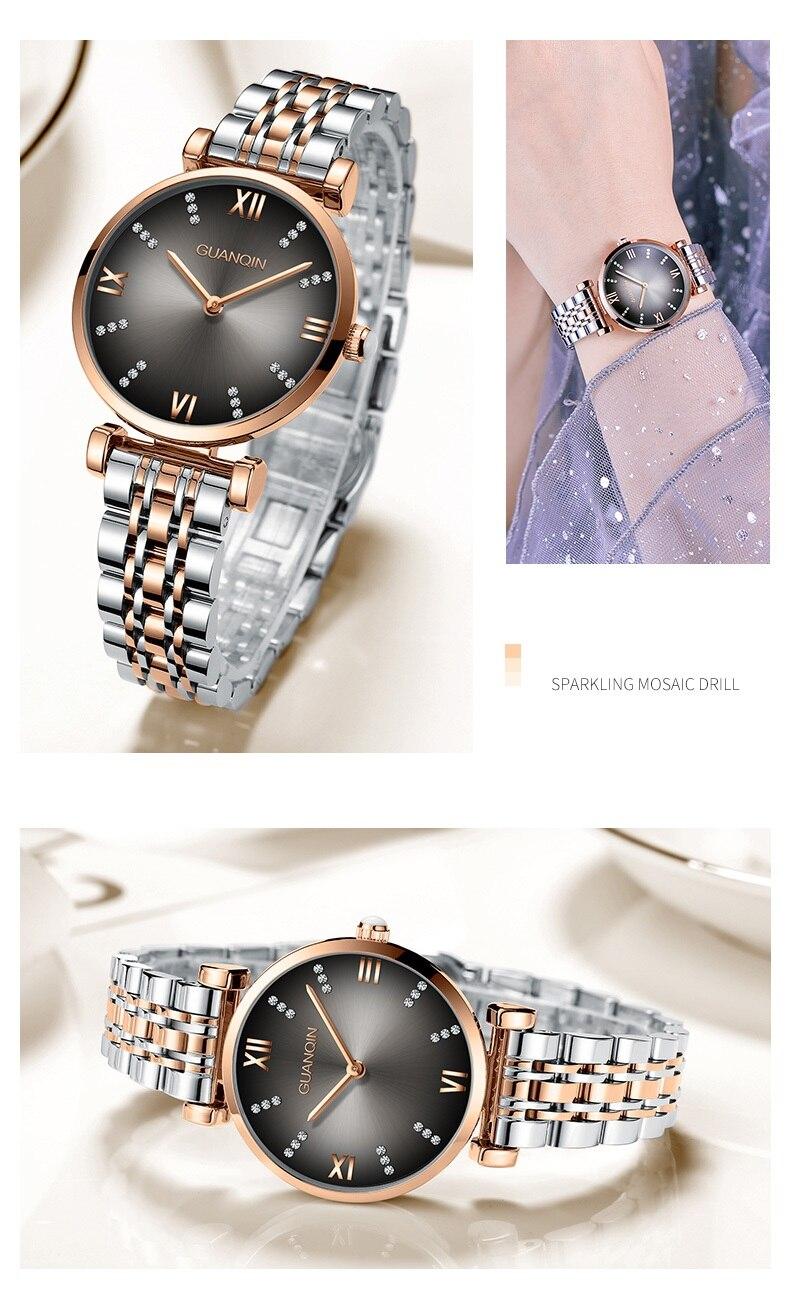 Woman Watch 2019 GUANQIN GS19122 Quartz Luxury Brand Ladies Watch Green Waterproof Simple Fashion Wrist Watch Tool Dropshipping (8)