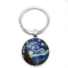 2020 New World Celebrity Painting Van Gogh Works Key Ring Oil Painting Keychain 25mm Glass Cabochon Key Ring Gift Jewelry недорого