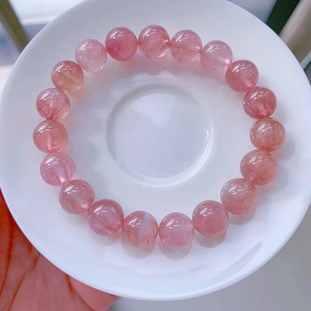 Natural Pink Tourmaline Quartz Clear Round Beads Crystal Bracelet 10.2mm Women Crystal Jewelry Candy Tourmaline AAAAAAA 1