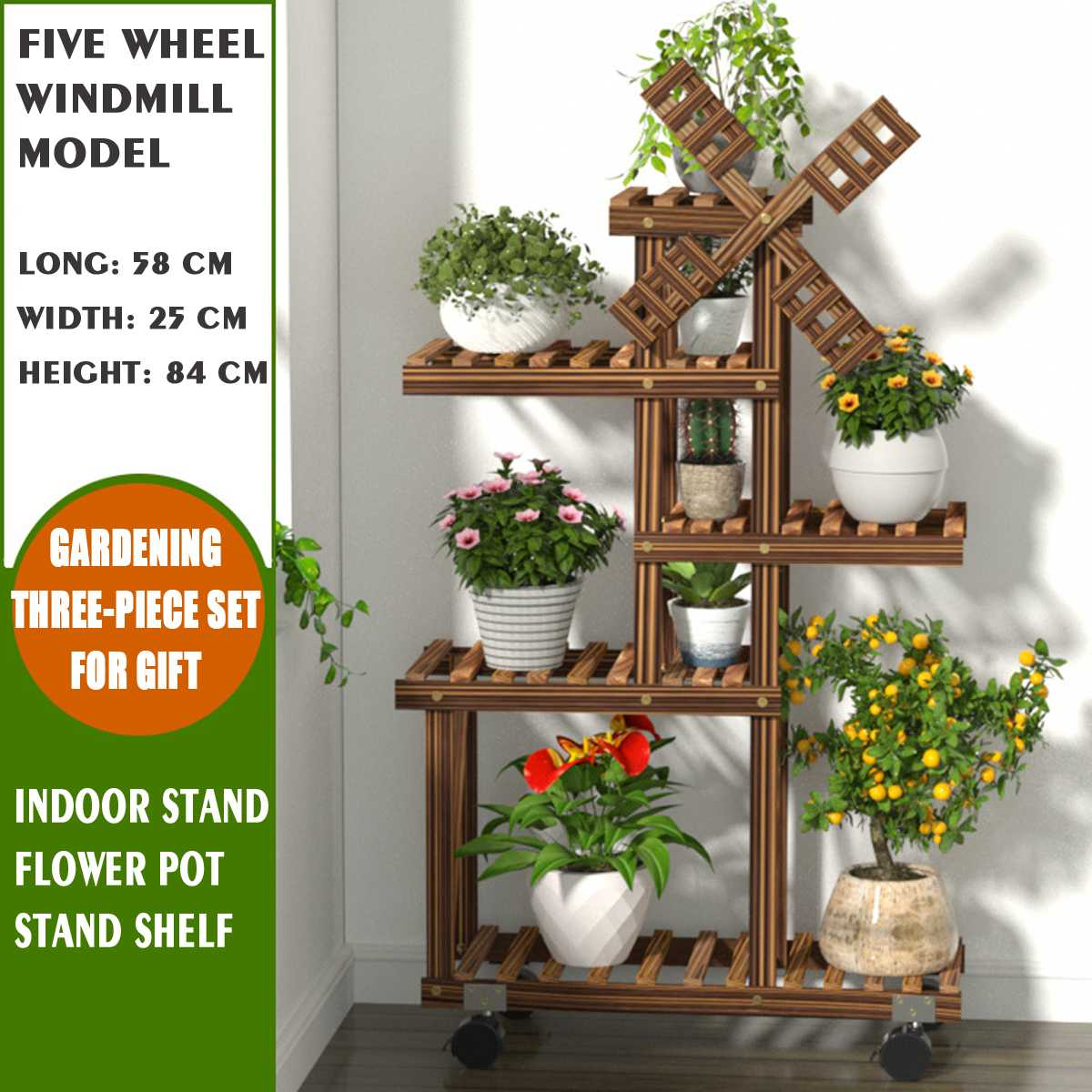 Wood Flower Rack Plant Stand Shelves Bonsai Display Shelf Outdoor Indoor Yard Garden Patio Balcony Flower Stands Plant Shelves