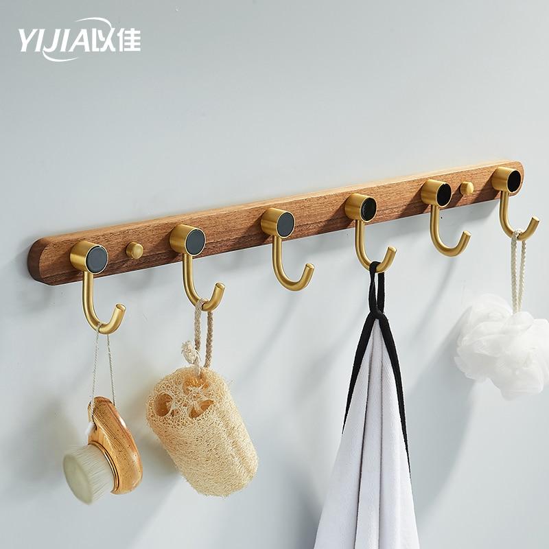 дерево крючок кухня инструмент стена подвес 5 ряд крючок ванная полотенце вешалка вешалка пальто универсальный крючки