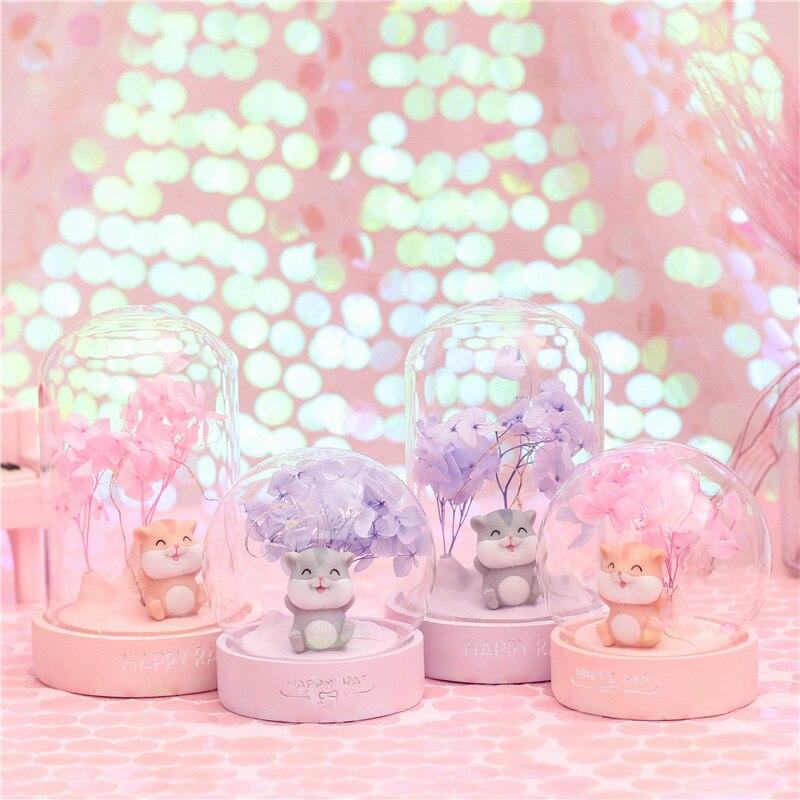 Ins Resin Hamster LED Night Light Cartoon Hamster Lamps Fairy Lights Bedroom Landscape Decor Lamp Christmas Gift For Kids