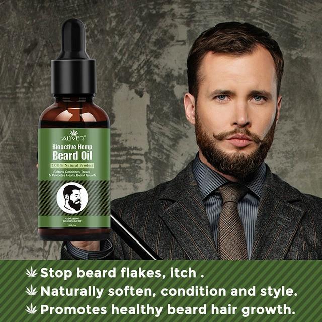 Hemp Oil Beard Growth Men's Beard Hair Growth Products Hair Conditioner Leave-In JIU55 4