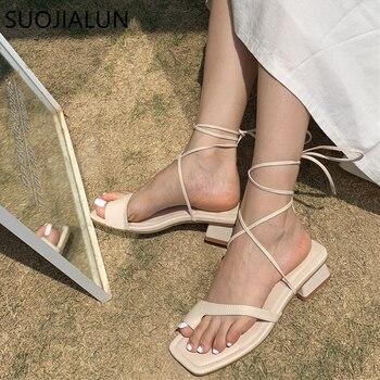 цена SUOJIALUN New Fashion Women Sandals Gladiator Casual Sandal Narrow Band Sandal Low Heel Lace Up sandal Back Strap Summer Shoes онлайн в 2017 году