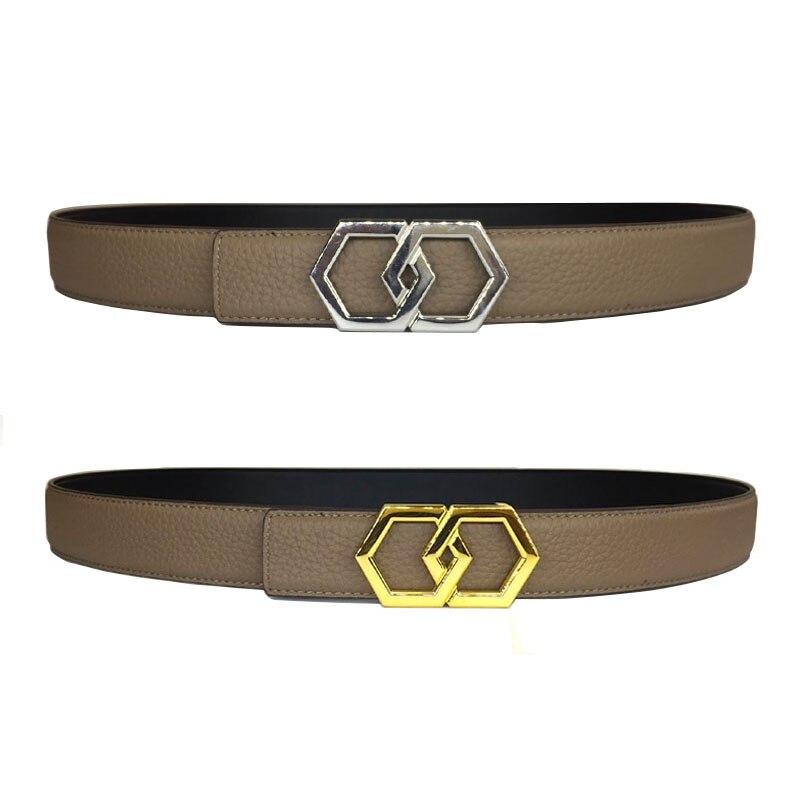 Véritable cuir luxe hexagones Lichi cuir ceinture hommes femmes chic Bling boucle en acier inoxydable vache cuir jaune ceinture