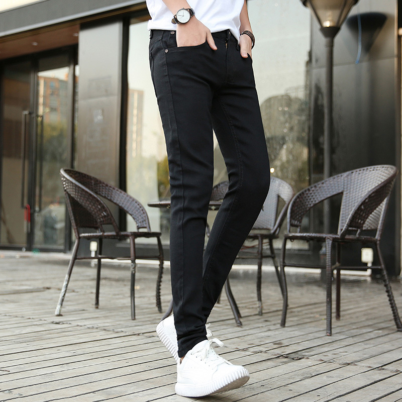 MEN'S Jeans Men's Slim Fit Skinny Pants Men's Teenager Elasticity Korean-style Trend Pants Men's Spring And Autumn New Style Gon