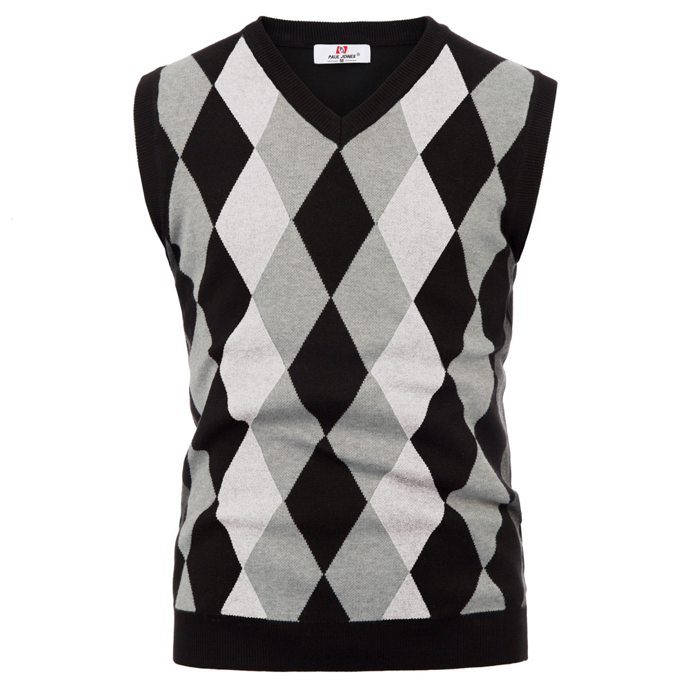 PJ Men Sweater Vintage V-Neck  Knitted Tank Tops Sleeveless Sweater Plaid Checks Male Knitwear British Style
