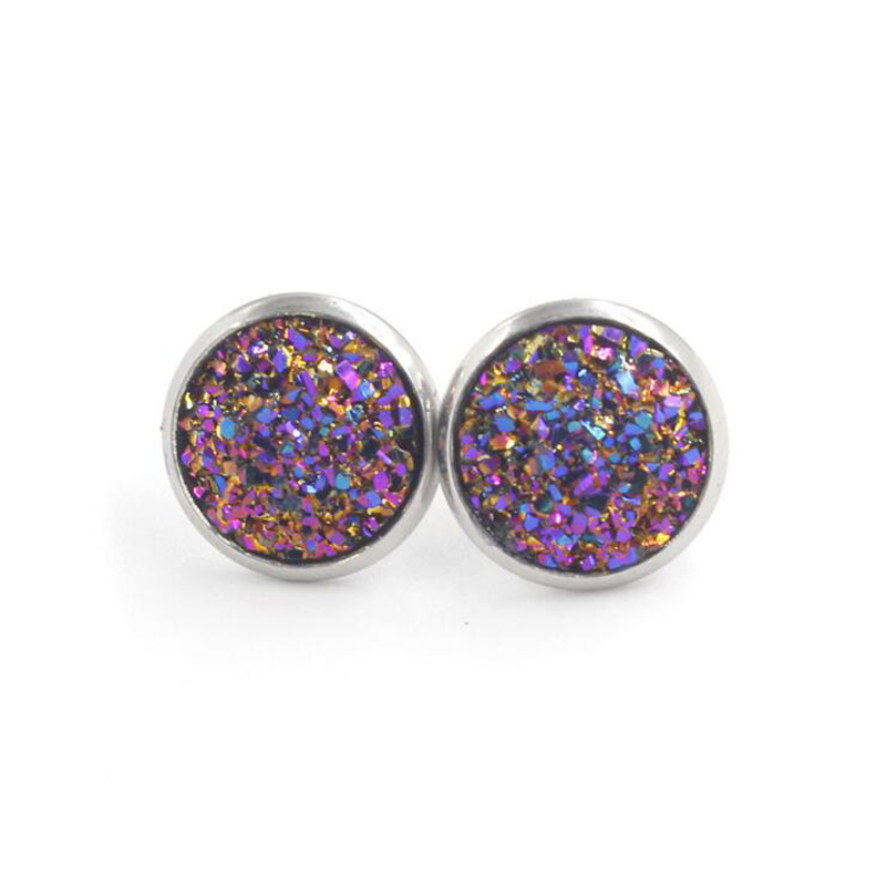 H2ee42ee955784e65aa189b27b024752cM - Fnixtar 12mm 100% Stainless Steel Shinning Resin Stud Earring for Women Top Quality Fashion Earrings Party Ear Jewelry