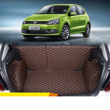Lsrtw2017 Leather Car Trunk Mat Cargo Liner for Volkswagen POLO Mk5 2009 2010 2011 2012 2013 2014 2015 2016 2017 Accessories overe 1set car cargo rear trunk mat for honda civic 2009 2010 2011 2012 2013 2014 2015 boot liner tray anti slip mat accessories