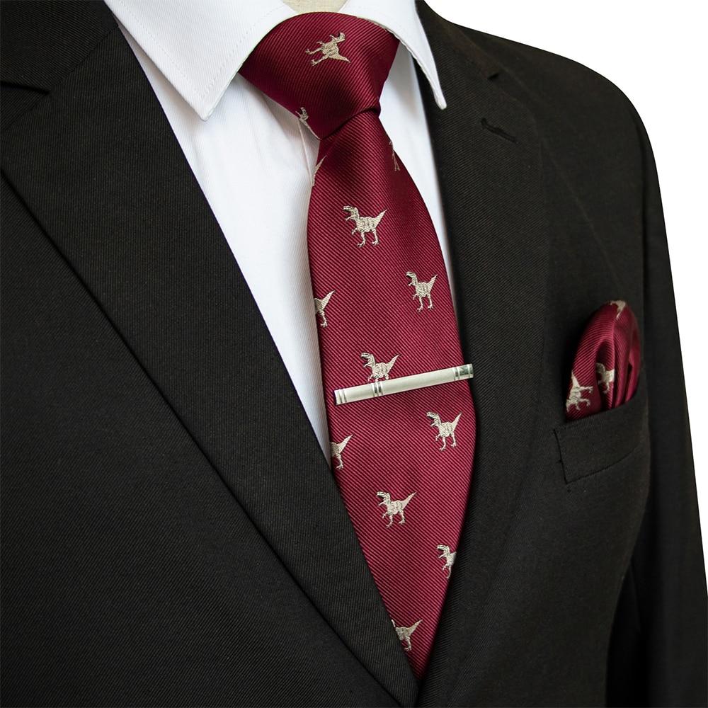 JEMYGINS 18 Styles Mens Wedding Tie Dinosaur Pattern 8cm Silk Necktie Pocket Square Handkerchief Set Ties For Men Business Party