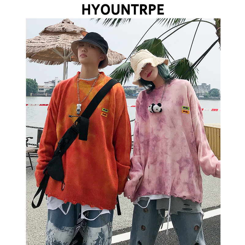 Mens Oversize Tie-dyed Sweater Fashion O-neck Knitted Tops Unisex Autumn Winter Casual Warm Hip Hop Loose Streetwear Sweaters
