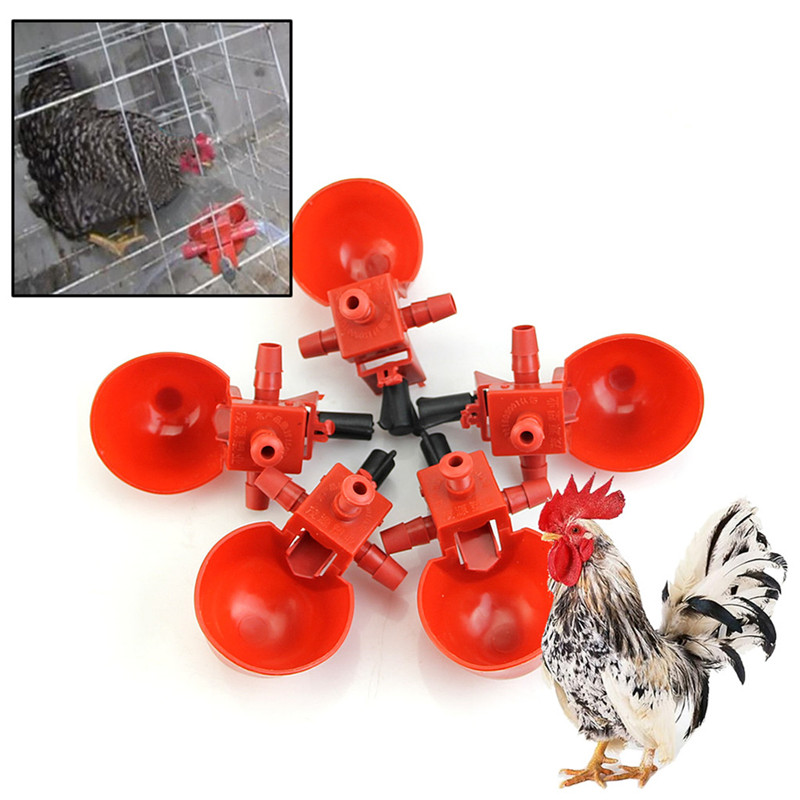 5Pcs  Feed Automatic Bird Coop Poultry Chicken Fowl Drinker Water Drinking Cups M4YD